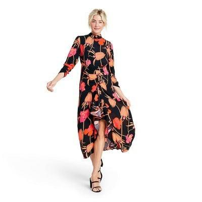 <p>This visually striking <span>Rixo Floral Open Back Cascade Ruffle Dress</span> ($60) will be the talk of your next social event.</p>