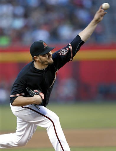 Arizona Diamondbacks' Wade Miley delivers a pitch against the Milwaukee Brewers during the first inning of a baseball game, Saturday, May 26, 2012, in Phoenix. (AP Photo/Matt York)