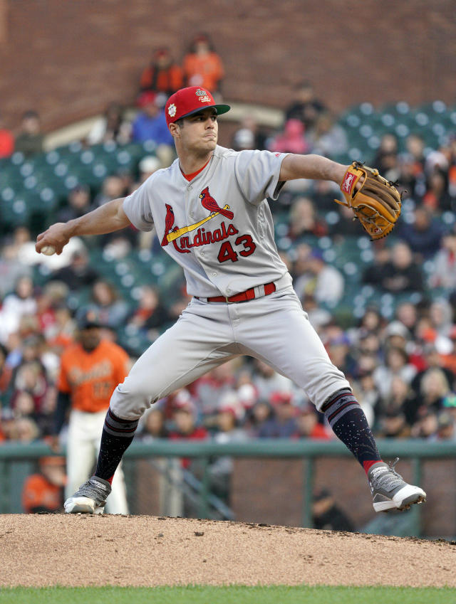 St. Louis Cardinals pitcher Dakota Hudson throws to a San Francisco Giants batter during the first inning of a baseball game in San Francisco, Friday, July 5, 2019. (AP Photo/Tony Avelar)