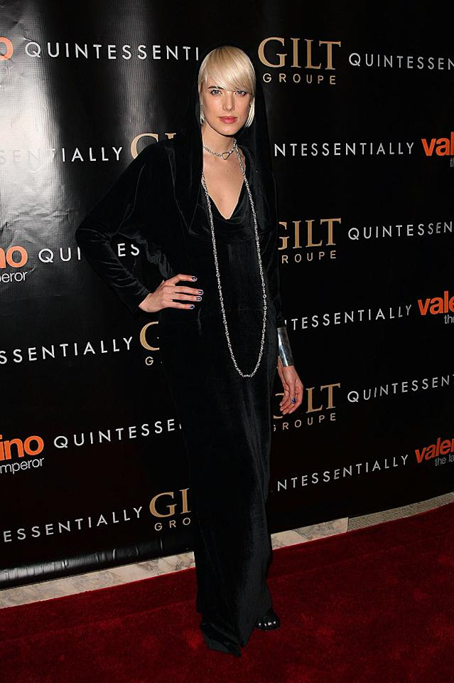 "Supermodel Agyness Deyn had one of the most unusual looks of the night: a hooded dress and blue fingernails. Steven Lovekin/<a href=""http://www.gettyimages.com/"" target=""new"">GettyImages.com</a> - March 17, 2009"