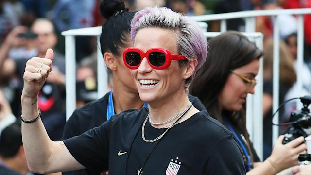 Large crowds gathered to celebrate the United States' Women's World Cup win in New York City, where Megan Rapinoe gave a powerful speech.