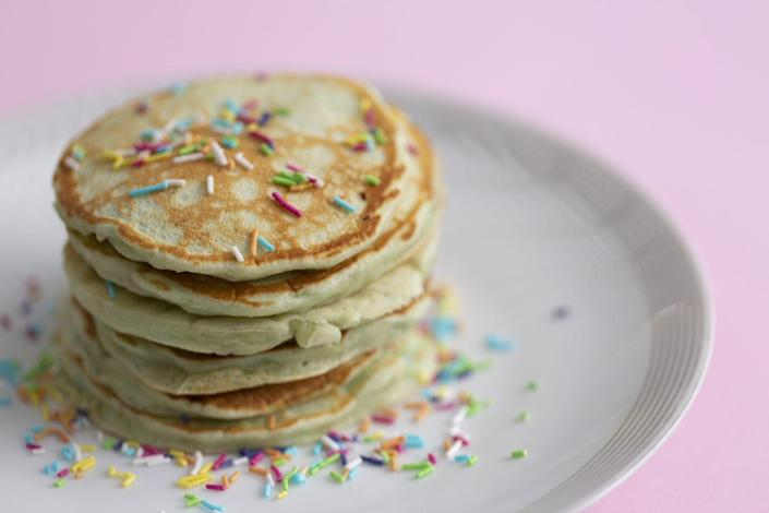 """<p>Who said sprinkles were just for special occasions? Make every breakfast more festive by adding a spoonful to your plate. </p><p><a class=""""link rapid-noclick-resp"""" href=""""https://go.redirectingat.com?id=74968X1596630&url=https%3A%2F%2Fwww.walmart.com%2Fc%2Ftheme%2Fsprinkles&sref=https%3A%2F%2Fwww.thepioneerwoman.com%2Ffood-cooking%2Fmeals-menus%2Fg36146701%2Fbest-pancake-toppings%2F"""" rel=""""nofollow noopener"""" target=""""_blank"""" data-ylk=""""slk:SHOP SPRINKLES"""">SHOP SPRINKLES</a></p>"""