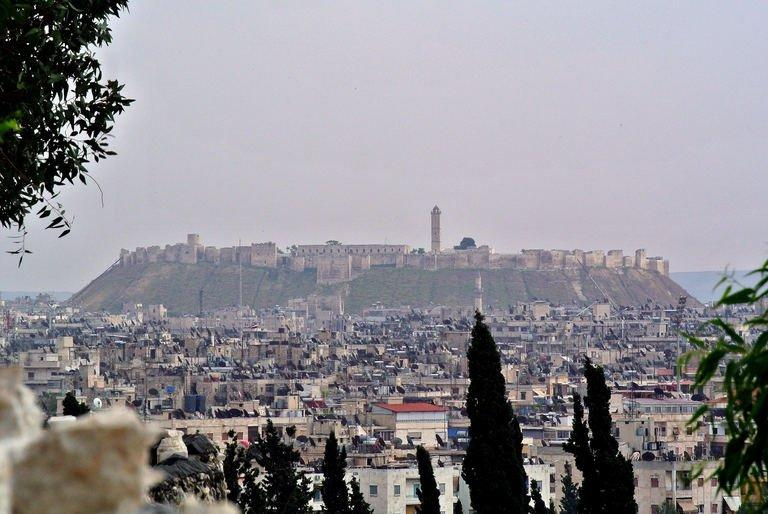 "A view of the 13th medieval century citadel that dominates the city of Aleppo, in northern Syria seen on May 7, 2013. Russia Foreign Minister Sergei Lavrov says both Russia and the United States are ready to use all their resources to bring Syria's ""government and opposition to the negotiating table"""