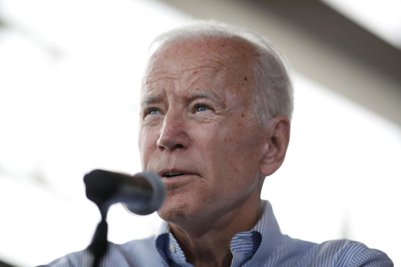 Former Vice President Joe Biden speaks during a town hall meeting in Ottumwa, Iowa, on Tuesday. (AP Photo/Matthew Putney)