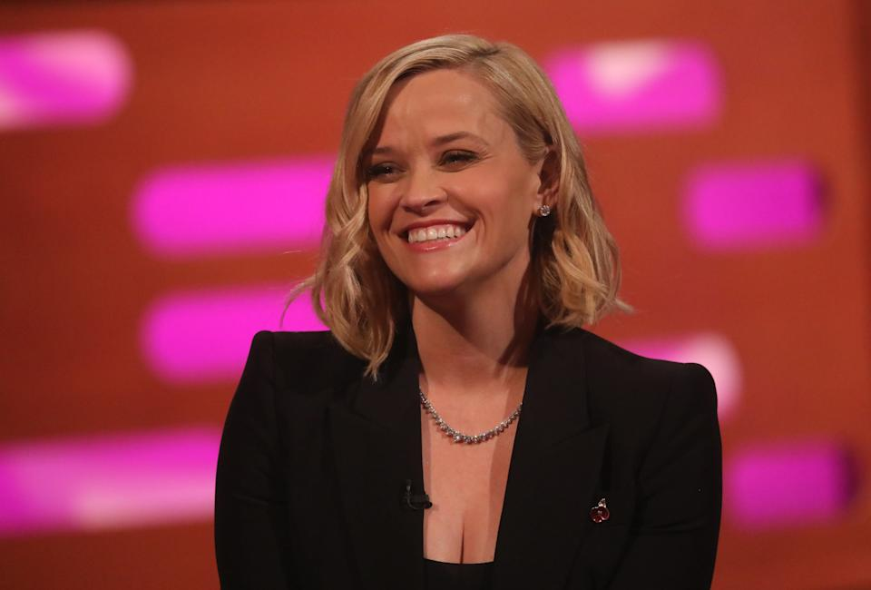 Reese Witherspoon during the filming for the Graham Norton Show. (Photo by Isabel Infantes/PA Images via Getty Images)
