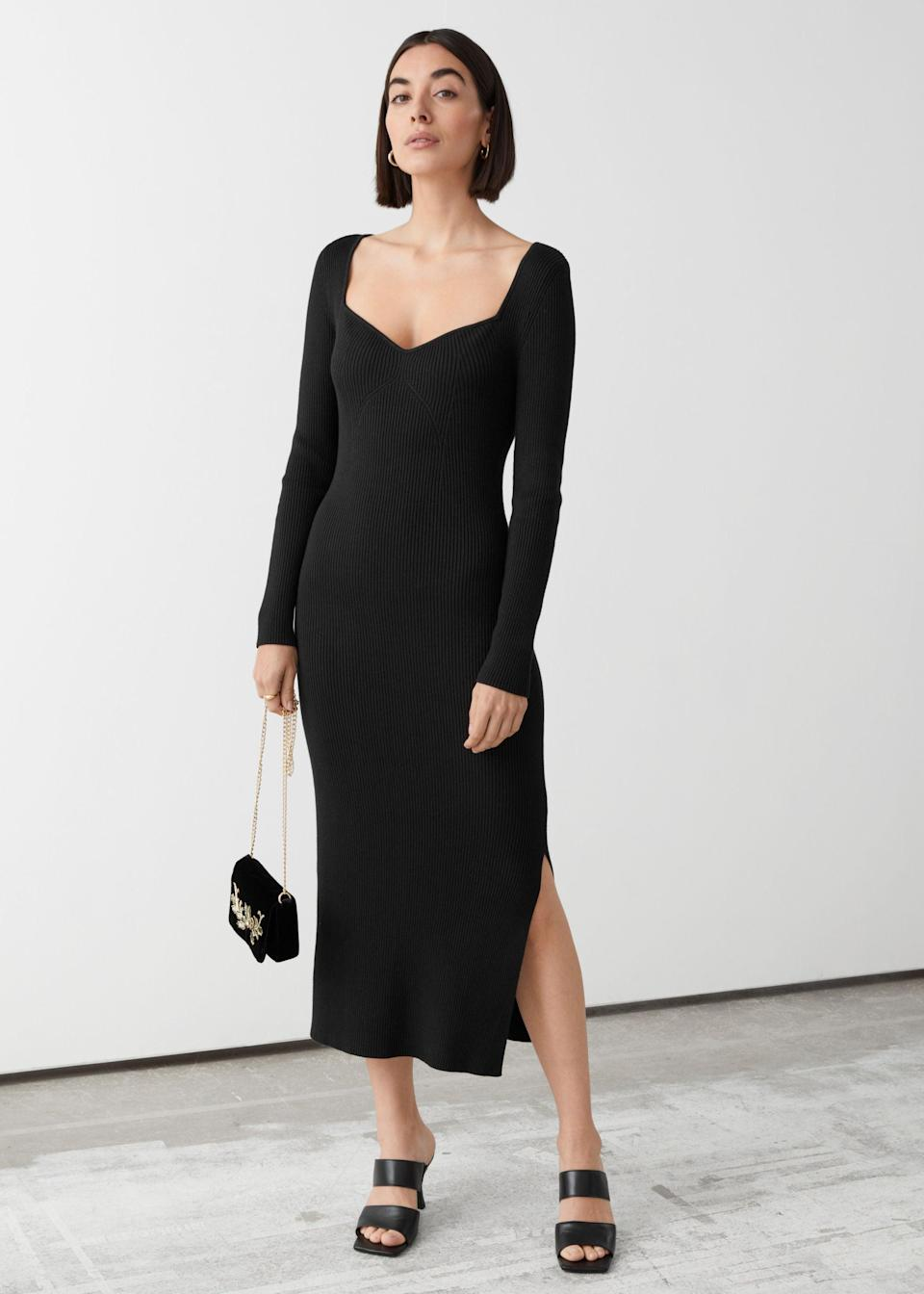 """<br><br><strong>& Other Stories</strong> Ribbed Sweetheart Neck Bustier Midi Dress, $, available at <a href=""""https://go.skimresources.com/?id=30283X879131&url=https%3A%2F%2Fwww.stories.com%2Fen_usd%2Fclothing%2Fdresses%2Fmidi-dresses%2Fproduct.ribbed-sweetheart-neck-bustier-midi-dress-black.0950491001.html"""" rel=""""nofollow noopener"""" target=""""_blank"""" data-ylk=""""slk:& Other Stories"""" class=""""link rapid-noclick-resp"""">& Other Stories</a>"""