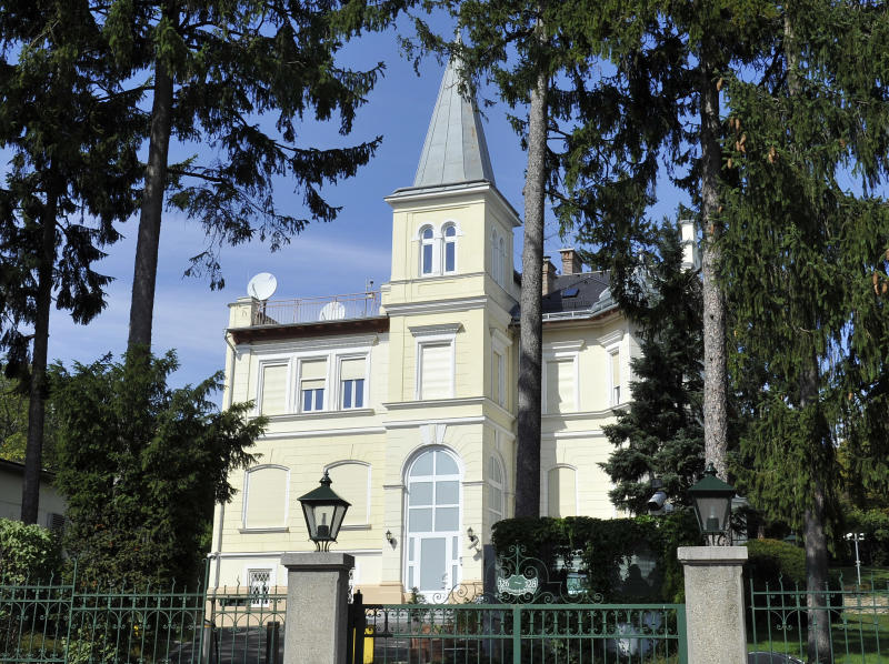 This picture taken Wednesday, Sept. 11, 2013 shows a villa that allegedly belongs to the NSA in Vienna, Austria. NSA outrage has come to Austria big time. News outlets, the government, opposition parties and U.S. officials are battling it out over allegations that the stately villa in a leafy Vienna district served as a sophisticated a U.S. intelligence listening post keeping tabs on most of Vienna. (AP Photo/Hans Punz)