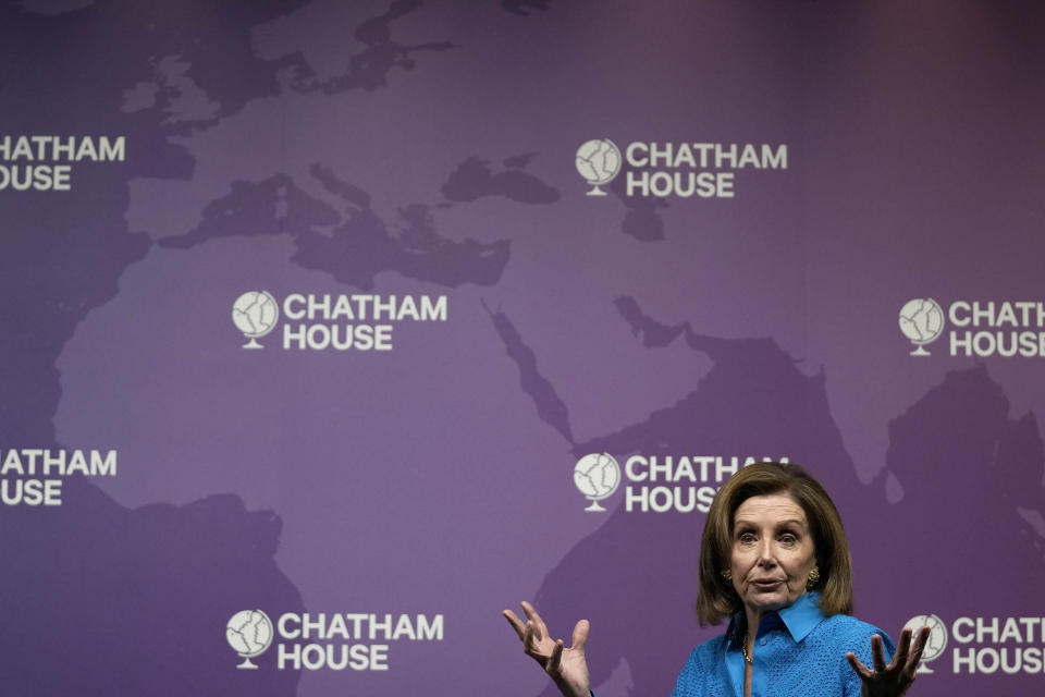 The Speaker of the United States House of Representatives, Nancy Pelosi, speaks at Chatham House, the Royal Institute of International Affairs, in London, Friday, Sept. 17, 2021. (AP Photo/Frank Augstein)