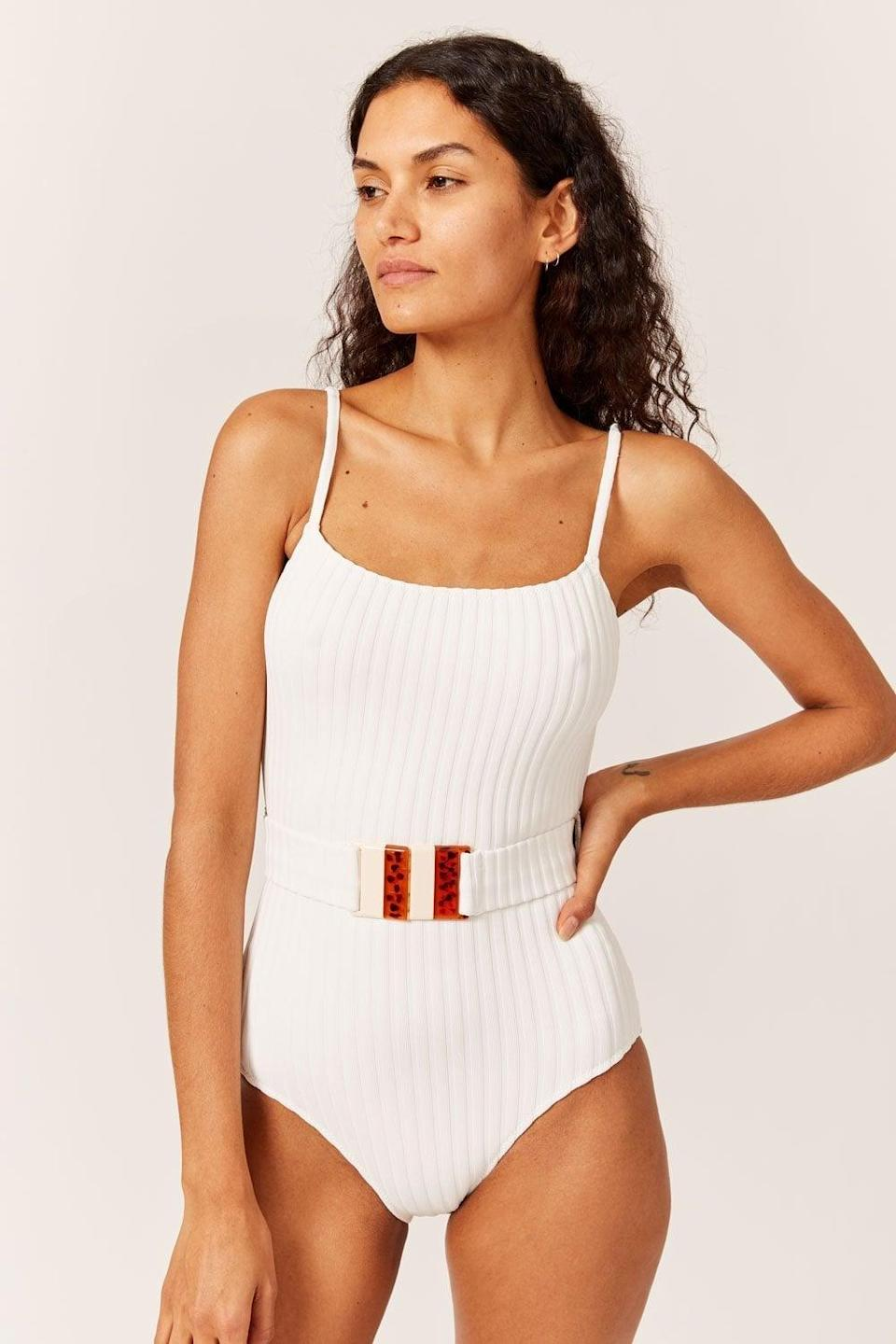 <p>If you're looking for a belted choice, then get the new <span>Solid &amp; Striped Nina Belt Rib One-Piece</span> ($198).</p>