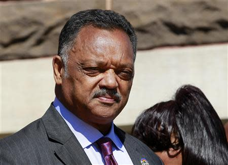 Civil rights activist Reverend Jesse Jackson looks on outside the 16th Street Baptist Church in Birmingham, Alabama September 15, 2013. REUTERS/Marvin Gentry