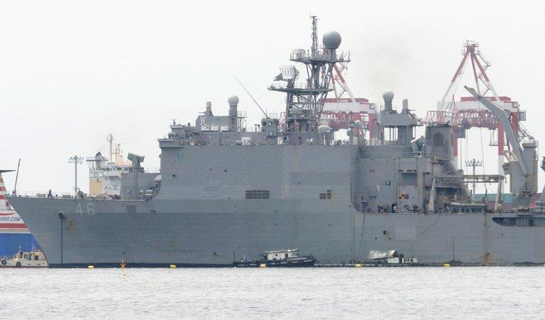 The USS Tortuga, an amphibious landing ship of the US 7th Fleet, arrives in Manila on April 2, 2013, in preparation for joint US-Philippine military exercises in different parts of the country