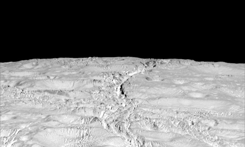 The north pole of Saturn's icy moon Enceladus is seen in an image from Nasa's Cassini spacecraft taken on 14 October 2015.