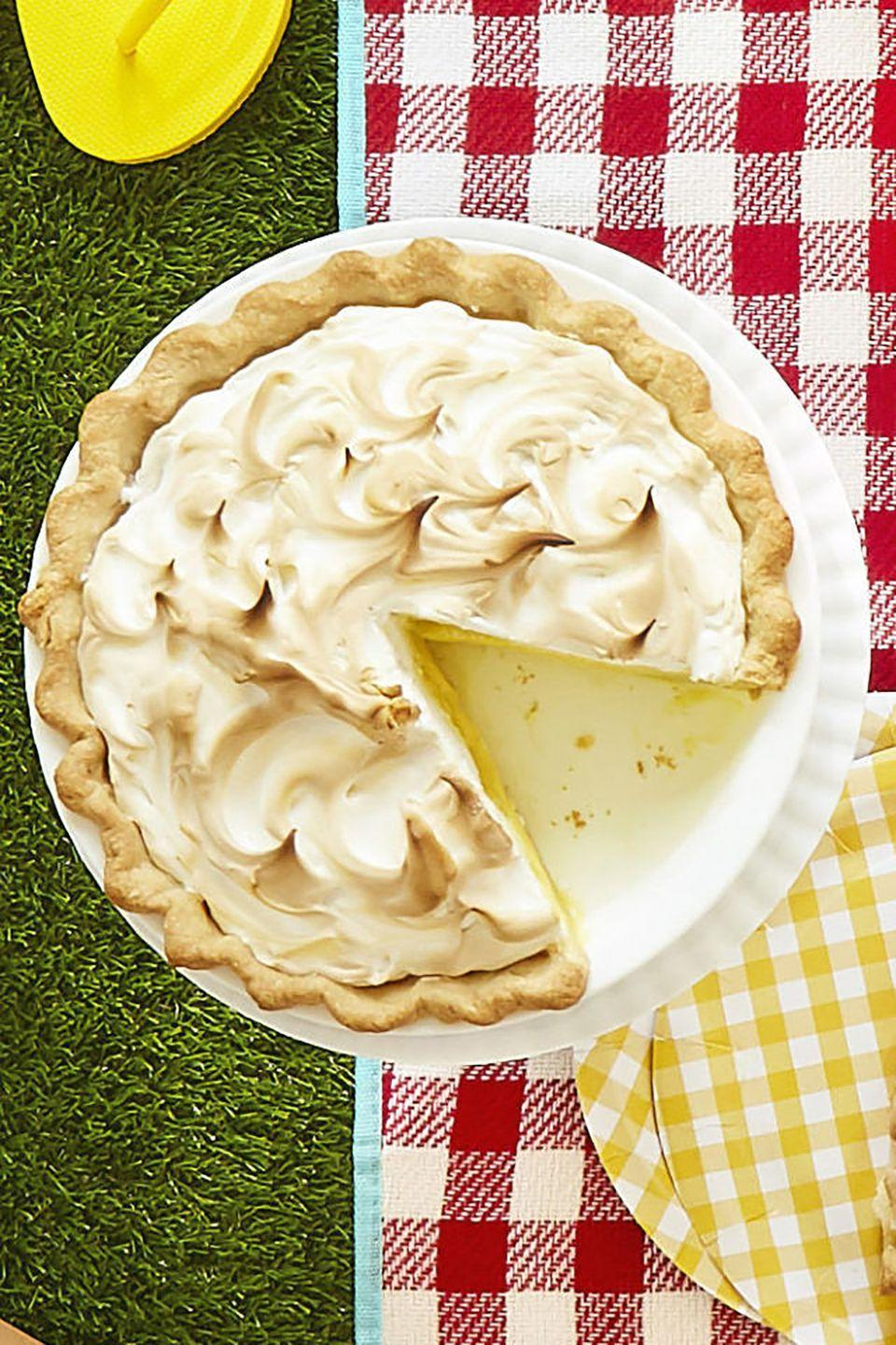 """<p><span class=""""redactor-unlink"""">Don't leave pie off your Memorial Day menu. This fluffy lemon meringue is a classic crowd-pleaser.</span></p><p><strong><a href=""""https://www.countryliving.com/food-drinks/recipes/a42431/meyer-lemon-meringue-pie/"""" rel=""""nofollow noopener"""" target=""""_blank"""" data-ylk=""""slk:Get the recipe"""" class=""""link rapid-noclick-resp"""">Get the recipe</a>.</strong><br></p>"""