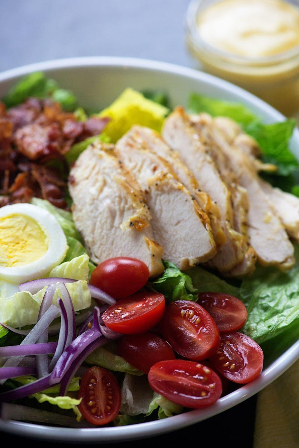 """<p>Honey and mustard were MFEO.</p><p>Get the recipe from <a href=""""https://www.delish.com/cooking/recipe-ideas/recipes/a53057/grilled-honey-mustard-chicken-salad-recipe/"""" rel=""""nofollow noopener"""" target=""""_blank"""" data-ylk=""""slk:Delish"""" class=""""link rapid-noclick-resp"""">Delish</a>.</p>"""