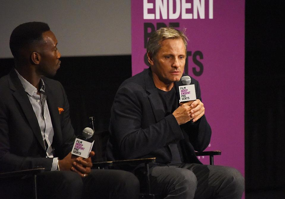 Viggo Mortensen, right, with his <em>Green Book</em> co-star Mahershala Ali at the ArcLight Hollywood Nov. 7. Mortensen is apologizing for using the N-word while discussing the film. (Photo: Araya Diaz/Getty Images)
