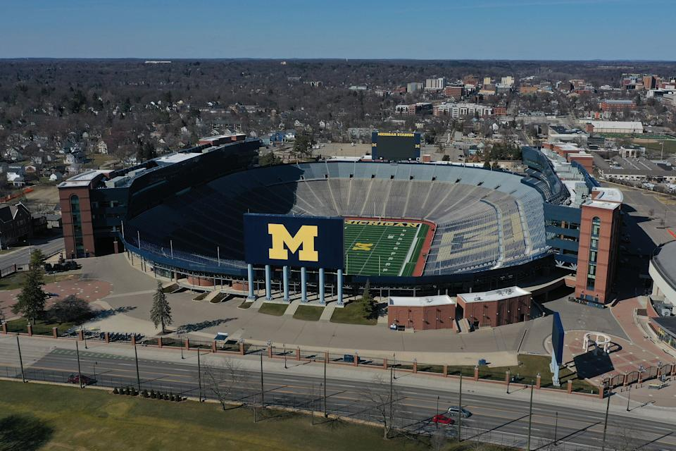 Aerial general view from a drone of of Michigan Stadium.