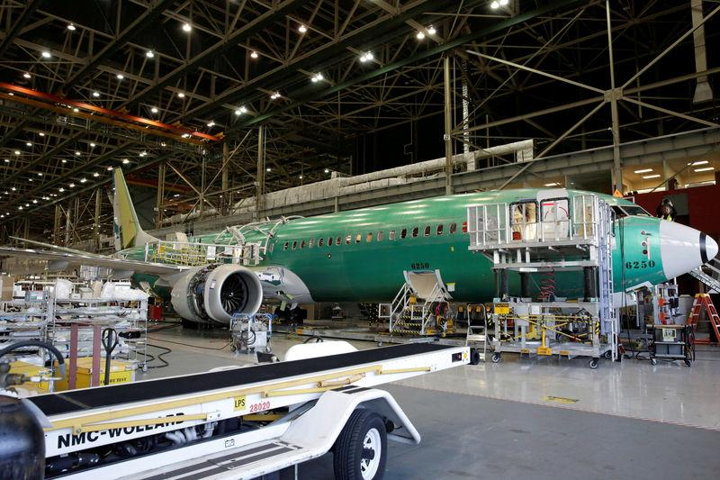 FILE PHOTO: Boeing's new 737 MAX-9 is pictured under construction at their production facility in Renton, Washington