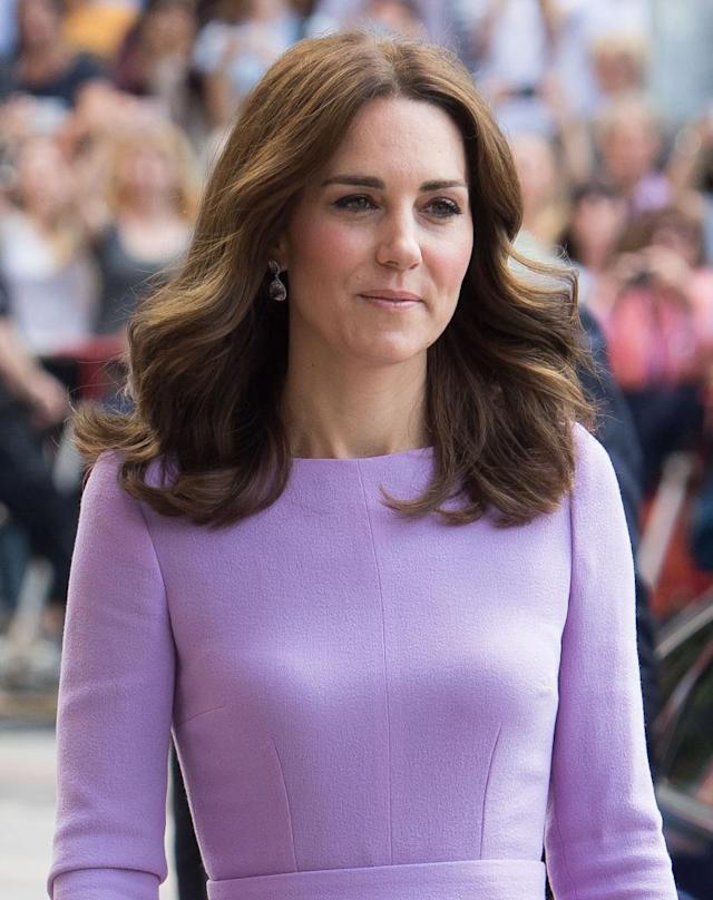 <p>The British royal looked superposh during a visit to Germany's Maritime Museum wearing a lilac dress, center-parted loose curls, and fresh makeup. (Photo: Getty Images) </p>