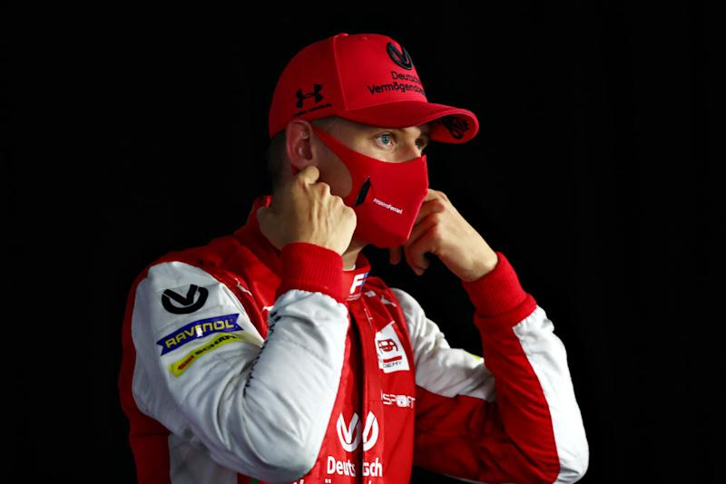 BUDAPEST, HUNGARY - JULY 18: Third placed Mick Schumacher of Germany and Prema Racing talks to the media during the feature race for the Formula 2 Championship at Hungaroring on July 18, 2020 in Budapest, Hungary. (Photo by Dan Istitene - Formula 1/Formula 1 via Getty Images)