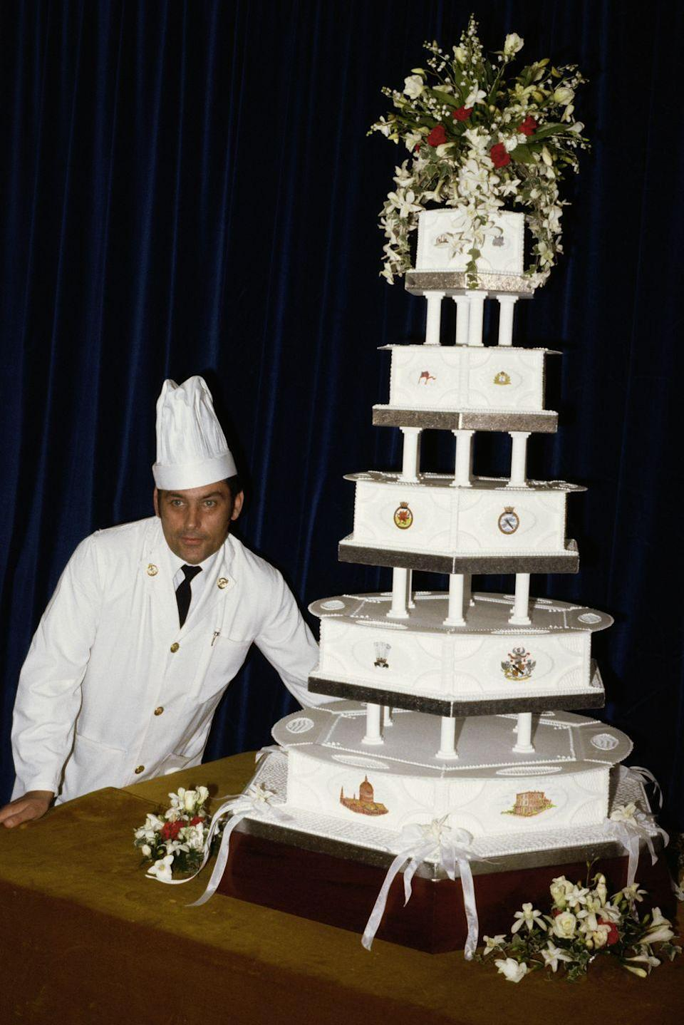 <p>When you have to feed thousands of guests at your reception, one cake will not do—so they had 27. But their official cake was a multi-tiered fruit cake made by the head baker at the Royal Naval Cookery School.</p>