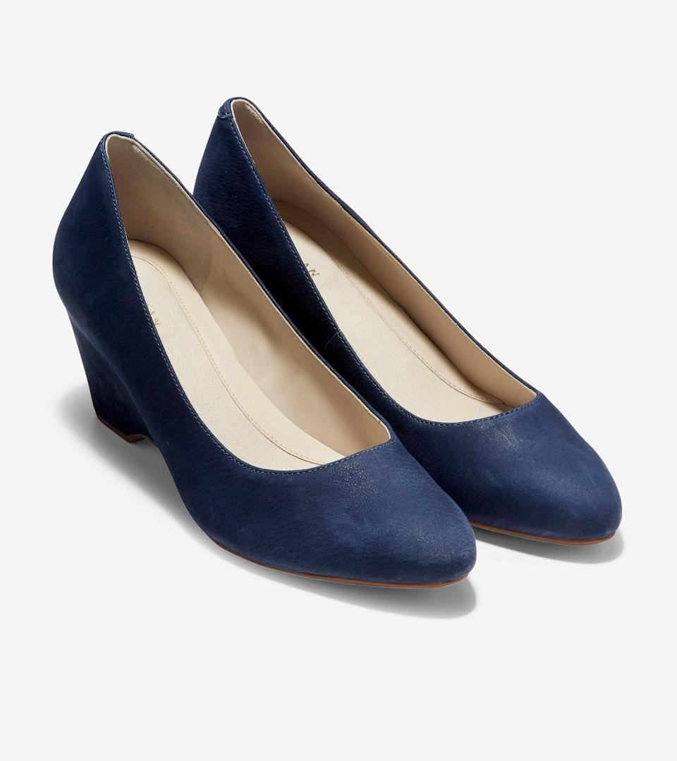 """<br><br><strong>Cole Haan</strong> The Go-To Wedge, $, available at <a href=""""https://go.skimresources.com/?id=30283X879131&url=https%3A%2F%2Fwww.colehaan.com%2Fthe-go-to-wedge-marine-blue-nubuck%2FW16099.html"""" rel=""""nofollow noopener"""" target=""""_blank"""" data-ylk=""""slk:Cole Haan"""" class=""""link rapid-noclick-resp"""">Cole Haan</a>"""