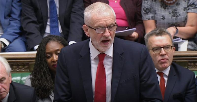 "Labour leader Jeremy Corbyn responds to Prime Minister Boris Johnson's statement on his new Brexit deal in the House of Commons, London, on what has been dubbed ""Super Saturday""."