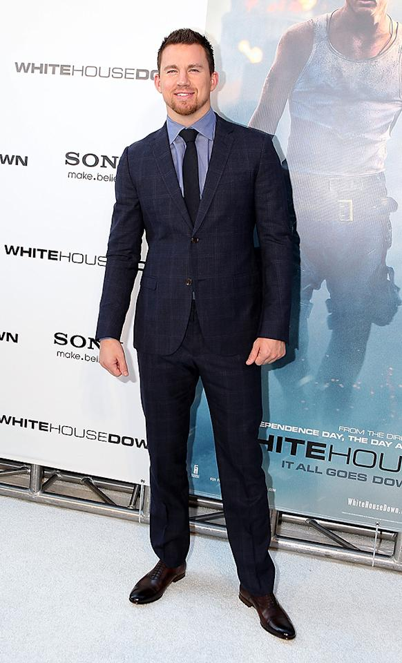 "WASHINGTON, DC - JUNE 21:  Actor Channing Tatum arrives at the ""White House Down"" Washington DC Premiere at AMC Georgetown on June 21, 2013 in Washington, DC.  (Photo by Paul Morigi/WireImage)"