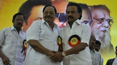 A file photo from 28 August 2018, of Former Union Minister MK Alagiri greeting MK Stalin after the latter was elected as the new DMK President, in Chennai.