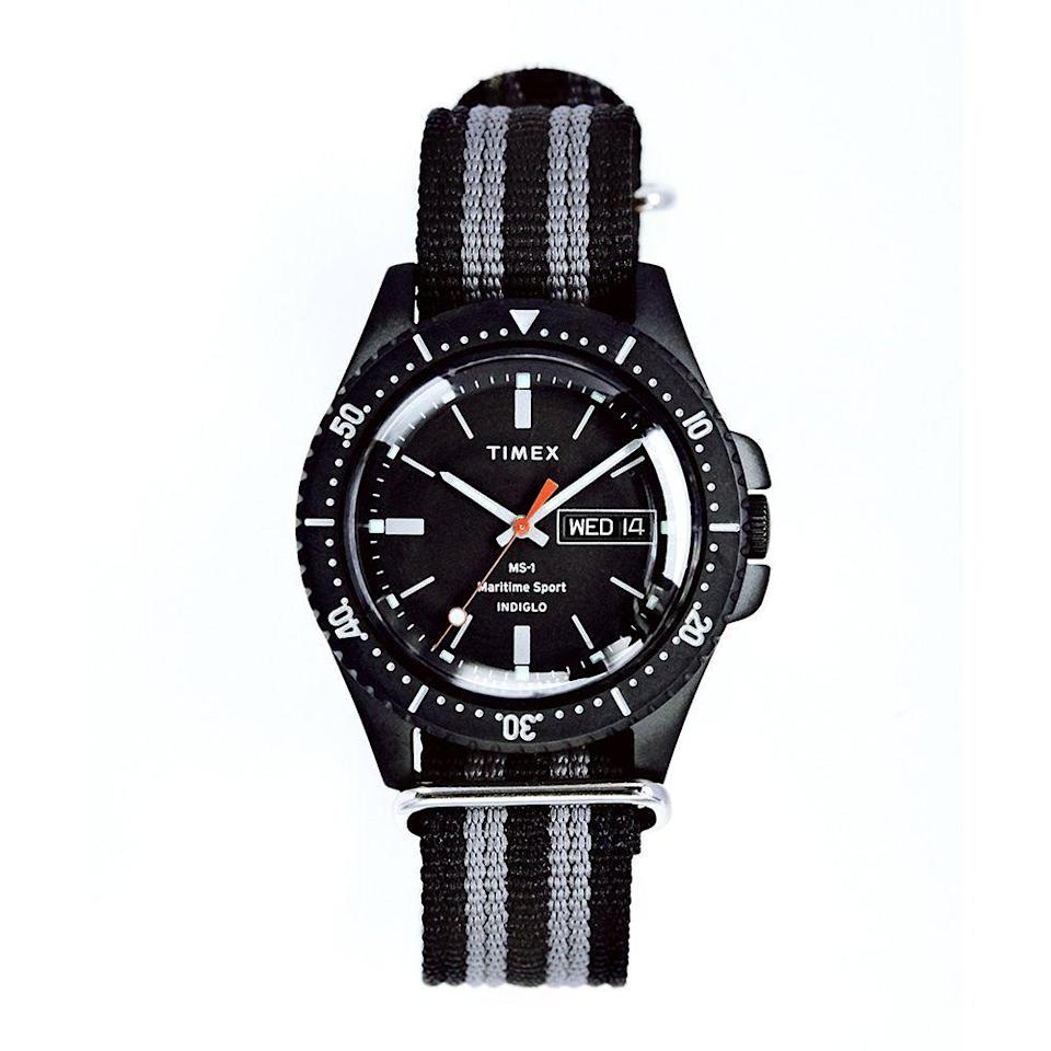 """<p><strong>timex</strong></p><p>toddsnyder.com</p><p><strong>$158.00</strong></p><p><a href=""""https://go.redirectingat.com?id=74968X1596630&url=https%3A%2F%2Fwww.toddsnyder.com%2Fcollections%2Fwatches%2Fproducts%2Ftimex-ms1-maritime-sport-black-case-dial-and-strap-black&sref=https%3A%2F%2Fwww.menshealth.com%2Fstyle%2Fg21753744%2Fbeach-essentials%2F"""" rel=""""nofollow noopener"""" target=""""_blank"""" data-ylk=""""slk:BUY IT HERE"""" class=""""link rapid-noclick-resp"""">BUY IT HERE</a></p><p>The MS1 Maritime Sport watch has a smart balance of cool American style with diver ready durability and function at an affordable price. Todd Snyder's thoughtful watch collaborations with Timex offer timeless designs that look great on men of any age and this one is made just right for the beach and beyond. </p>"""