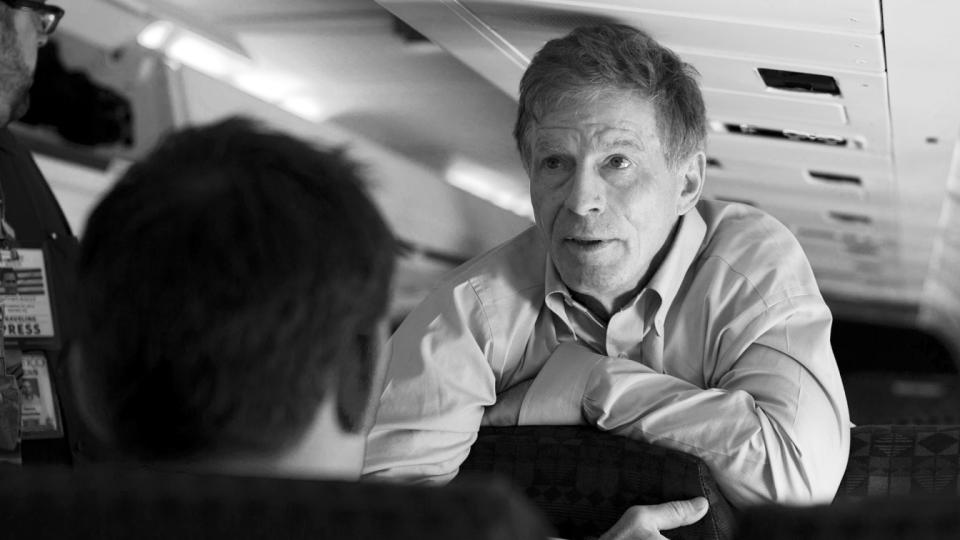 Stuart Stevens, senior adviser to Republican presidential candidate, former Massachusetts Gov. Mitt Romney, talks with press aboard the Romney campaign plane, Friday, Sept. 28, 2012 in Philadelphia.  (Evan Vucci/AP Photo)