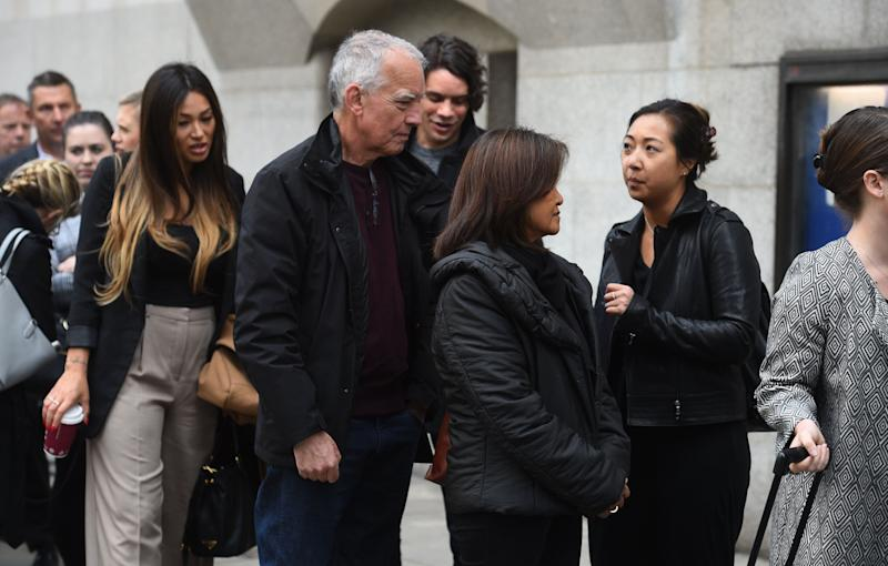 Simon and Mila McMullan (centre) the parents of James McMullan, 32, one of the victims of the London Bridge terrorist attack, queue at the Old Bailey ahead of the inquests into the deaths of the eight people killed in the attacks on London Bridge and in Borough Market, and the inquests into the deaths of the three attackers.