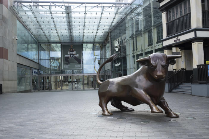 A deserted Bullring shopping centre in Birmingham city centre, England. Photo: Mike Kemp/In PIctures via Getty Images