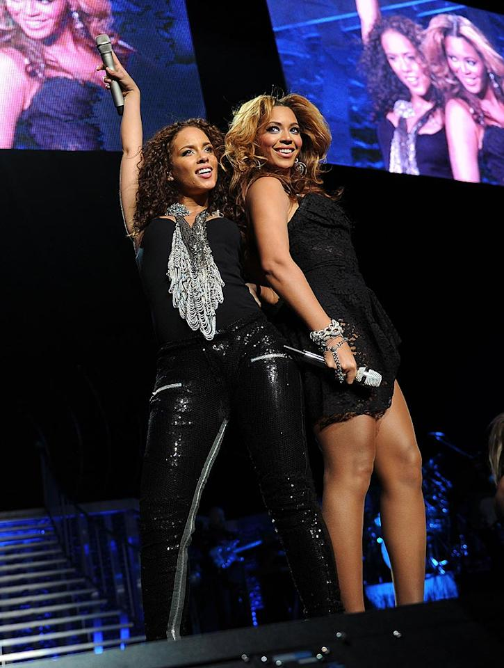 "Beyonce makes a surprise entrance to serenade the audience with ""Put It in a Love Song,"" a duet from Alicia's 2009 album, <i>The Element of Freedom</i>. Jason Kempin/<a href=""http://www.gettyimages.com/"" target=""new"">GettyImages.com</a> - March 17, 2010"