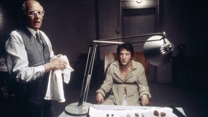 British actor Laurence Olivier and American Dustin Hoffman on the set of Marathon Man