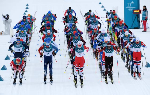<p>Cross-Country skiers start in the Men's 15km and 15km Skiathlon Cross-Country Skiing on day two of the PyeongChang 2018 Winter Olympic Games at Alpensia Cross-Country Centre on February 11, 2018 in Pyeongchang-gun, South Korea. (Photo by Matthias Hangst/Getty Images) </p>