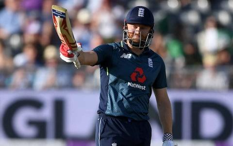 Jonathan Bairstow of England celebrates reaching his half century during the 3rd Royal London One Day International between England and Pakistan - Credit: Gareth Copley/Getty Images