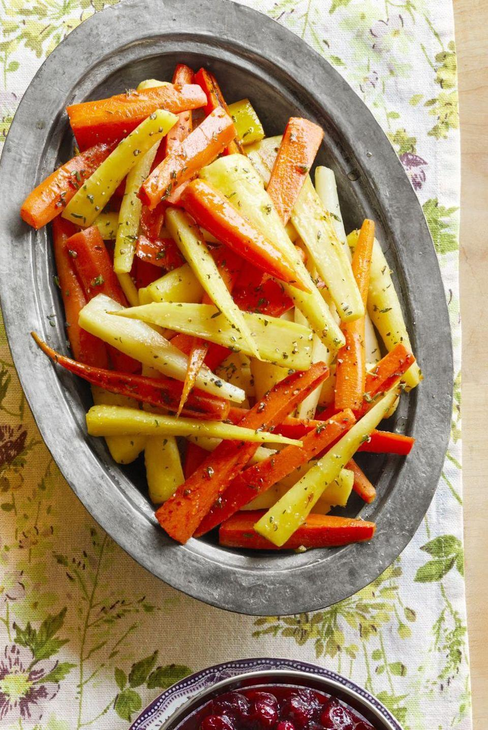 """<p>Stick to the basics with this easy root veggie dish. It's flavored with fresh thyme and honey.</p><p><strong><a href=""""https://www.thepioneerwoman.com/food-cooking/recipes/a33248884/honey-glazed-carrots-and-parsnips-recipe/"""" rel=""""nofollow noopener"""" target=""""_blank"""" data-ylk=""""slk:Get the recipe."""" class=""""link rapid-noclick-resp"""">Get the recipe.</a></strong></p><p><a class=""""link rapid-noclick-resp"""" href=""""https://go.redirectingat.com?id=74968X1596630&url=https%3A%2F%2Fwww.walmart.com%2Fsearch%2F%3Fquery%3Dvegetable%2Bpeelers&sref=https%3A%2F%2Fwww.thepioneerwoman.com%2Ffood-cooking%2Fmeals-menus%2Fg35585877%2Feaster-recipes%2F"""" rel=""""nofollow noopener"""" target=""""_blank"""" data-ylk=""""slk:SHOP VEGETABLE PEELERS"""">SHOP VEGETABLE PEELERS</a></p>"""