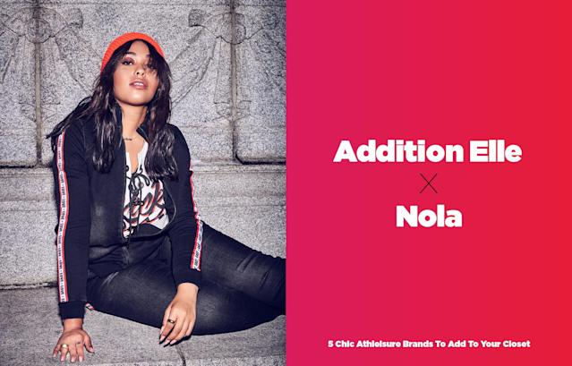 <p>Nola is the newest athelisure line from Canadian plus-size brand Addition Elle. The collection launched in collaboration with model Jordyn Woods. For any girl looking for a streetwear-inspired athleisure line, this is the place to find it. Standouts among the 12 pieces include a hooded tunic, a mesh bra, and moto leggings. The collection ranges in size from 12 to 26, and items start as low as $26. </p>