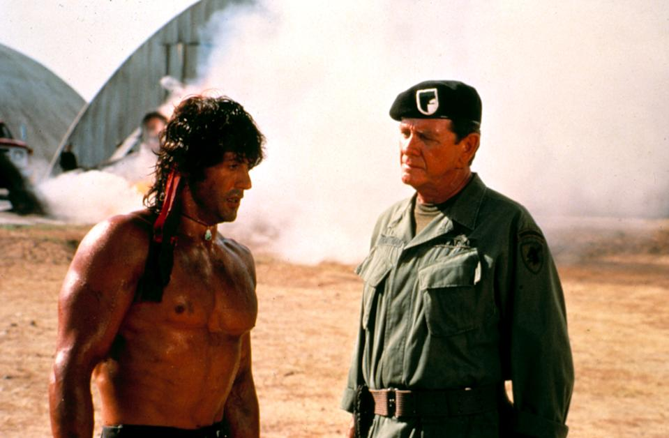 Rambo and his trusted commander, Trautman (Richard Crenna) in 'First Blood Part II' (Photo: Courtesy Everett Collection)