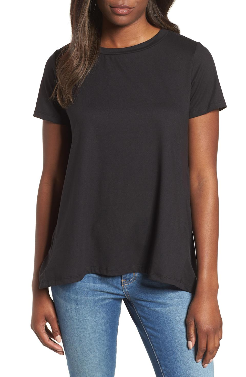 """<strong>The Flowy Tee</strong><br><br>As an update to a standard black T-shirt, this style features an asymmetrical hem and a billowy back for a flattering, non-clingy fit.<br><br><strong>The Hype:</strong> 4.9 out of 5 stars on Nordstrom<br><br><strong>What They're Saying:</strong> """"I'm always looking for T shirts that have a little more than your standard T. The detail on the back and the asymmetrical hem give this shirt a little more flattering shape. Not to mention, it is SO soft. Definitely buy it!"""" - Katherine203, Nordstrom Review<br><br><strong>Bobeau</strong> Butter Short Sleeve Tee, $, available at <a href=""""https://go.skimresources.com/?id=30283X879131&url=https%3A%2F%2Fshop.nordstrom.com%2Fs%2Fbobeau-butter-short-sleeve-tee-regular-petite%2F4983334"""" rel=""""nofollow noopener"""" target=""""_blank"""" data-ylk=""""slk:Nordstrom"""" class=""""link rapid-noclick-resp"""">Nordstrom</a>"""