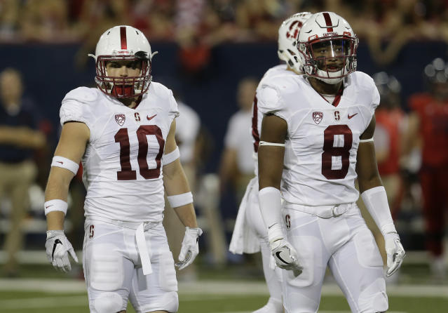 Stanford safety Zach Hoffpauir (10) had 99 tackles in his Stanford career. (AP Photo/Rick Scuteri)