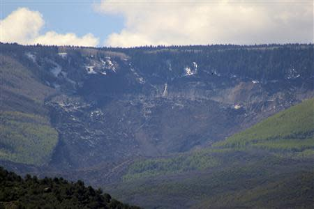 A four-mile-long (6-km) mudslide which occured May 25, 2014 is seen from Highway 330 near the Grand Mesa National Forest, close to the town of Colburn, in western Colorado May 26, 2014. REUTERS/Pablo Spencer