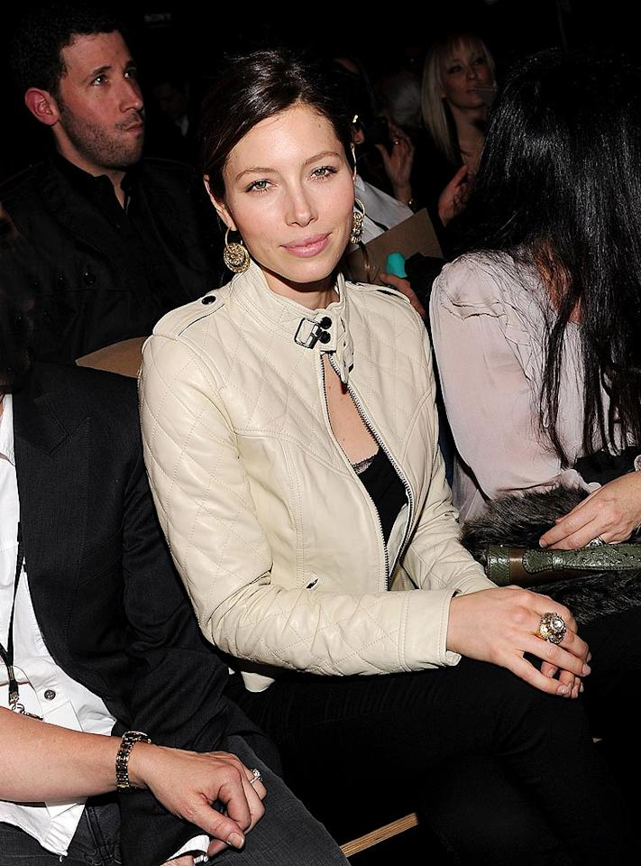 "Who's a loyal William Rast fan? Timberlake's girlfriend Jessica Biel, who was full of praise for her beau's collection. ""I loved the show!"" she said. Dimitrios Kambouris/<a href=""http://www.wireimage.com"" target=""new"">WireImage.com</a> - February 17, 2010"