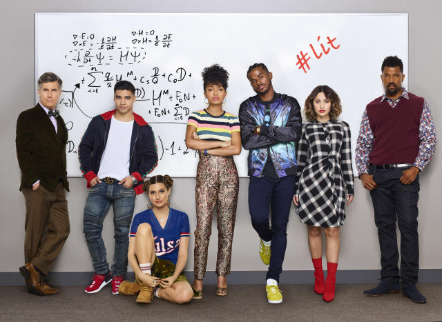 Chris Parnell as Dean Parker, Jordan Buhat as Vivek, Emily Arlook as Nomi Segal, Shahidi, Trevor Jackson as Aaron, Fancia Raisa as Ana Torres, and Deon Cole as Charlie Telphy (Photo: Freeform/Andrew Eccles)