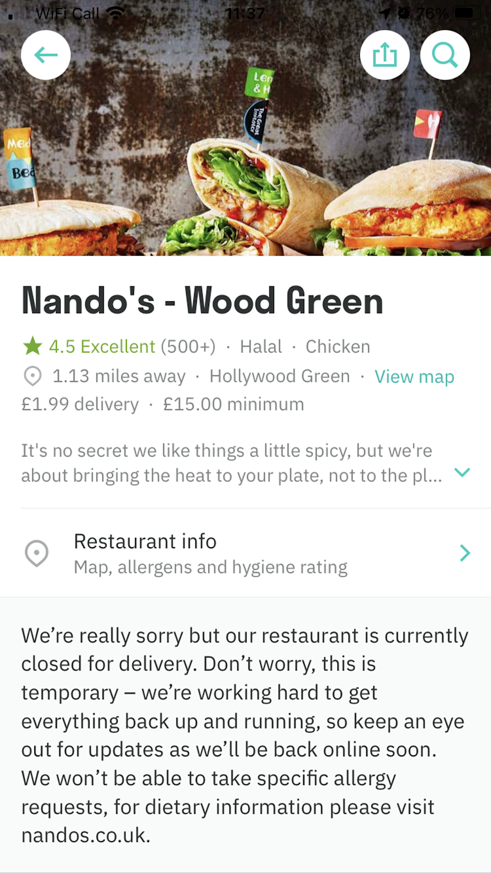 People are Peri-Peri angry after the closures (Deliveroo)