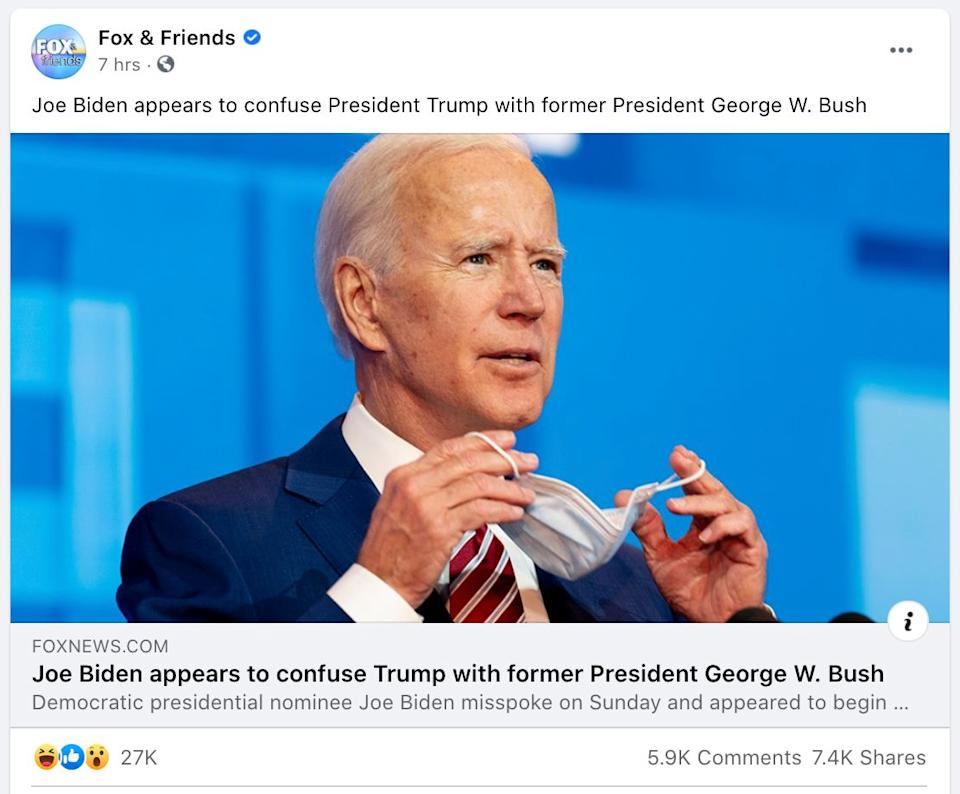 "A misleading story about a Joe Biden campaign event was shared on the Facebook page for ""Fox & Friends"" before it was updated. (Photo: Fox & Friends / Facebook)"