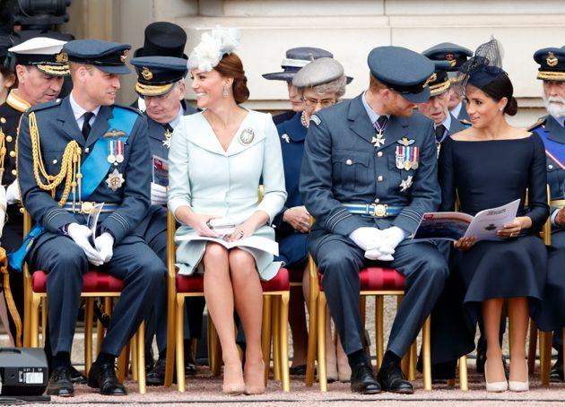 Prince William, Duke of Cambridge, Catherine, Duchess of Cambridge, Prince Harry, Duke of Sussex and Meghan, Duchess of Sussex in better times. (More specifically, a ceremony to mark the centenary of the Royal Air Force in July 2018.) (Photo: Max Mumby/Indigo via Getty Images)