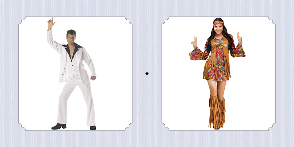 """<p>If you're not sure <a href=""""https://www.countryliving.com/diy-crafts/g4571/diy-halloween-costumes-for-women/"""" rel=""""nofollow noopener"""" target=""""_blank"""" data-ylk=""""slk:what costume to wear for Halloween"""" class=""""link rapid-noclick-resp"""">what costume to wear for Halloween</a>, let us fill you in on a little secret: You can never go wrong with a '70s-inspired costume. The decade was known for its flashy disco outfits and flower power hippy style, making is one of the most fun eras of all time when it comes to fashion.</p><p>If you're feeling crafty, we've included tons of <a href=""""https://www.countryliving.com/diy-crafts/g1360/halloween-costumes-for-kids/"""" rel=""""nofollow noopener"""" target=""""_blank"""" data-ylk=""""slk:homemade Halloween costume ideas"""" class=""""link rapid-noclick-resp"""">homemade Halloween costume ideas</a> that you can pull together with the help of a few purchases. But we also scoured the internet for loads of costumes you can buy online, you know, in case your top priority is that your <a href=""""https://www.countryliving.com/diy-crafts/g4616/diy-halloween-costumes-for-couples/"""" rel=""""nofollow noopener"""" target=""""_blank"""" data-ylk=""""slk:costume is easy"""" class=""""link rapid-noclick-resp"""">costume is easy</a> (hey, someone has to figure out what the kids are wearing <a href=""""https://www.countryliving.com/life/kids-pets/a23932768/what-time-does-trick-or-treating-start/"""" rel=""""nofollow noopener"""" target=""""_blank"""" data-ylk=""""slk:when they go trick-or-treating"""" class=""""link rapid-noclick-resp"""">when they go trick-or-treating</a>!). </p><p>If you're obsessed with pop culture, we rounded up ideas that were inspired by some of the most popular movies from that time period—from <em><a href=""""https://www.countryliving.com/diy-crafts/g22133528/grease-halloween-costumes/"""" rel=""""nofollow noopener"""" target=""""_blank"""" data-ylk=""""slk:Grease"""" class=""""link rapid-noclick-resp"""">Grease</a></em> to S<em>aturday Night Fever</em> to <em>Star Wars</em>. We also include groovy ideas for everyone in the family, ju"""