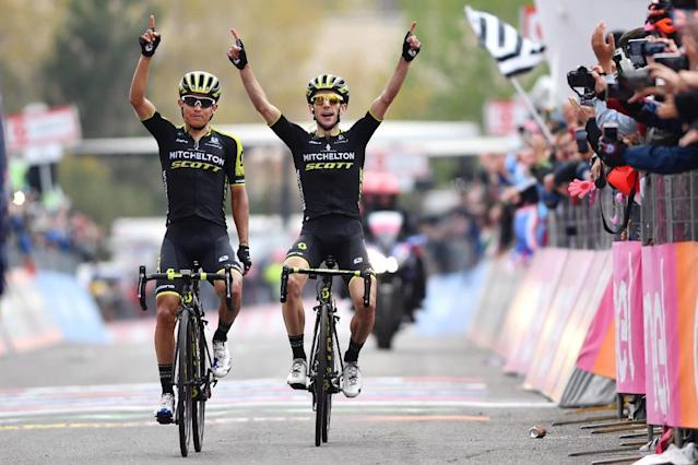 """<span class=""""element-image__caption"""">Yates and team-mate Esteban Chaves at the stage finish on Etna.</span> <span class=""""element-image__credit"""">Photograph: Justin Setterfield/Getty Images</span>"""