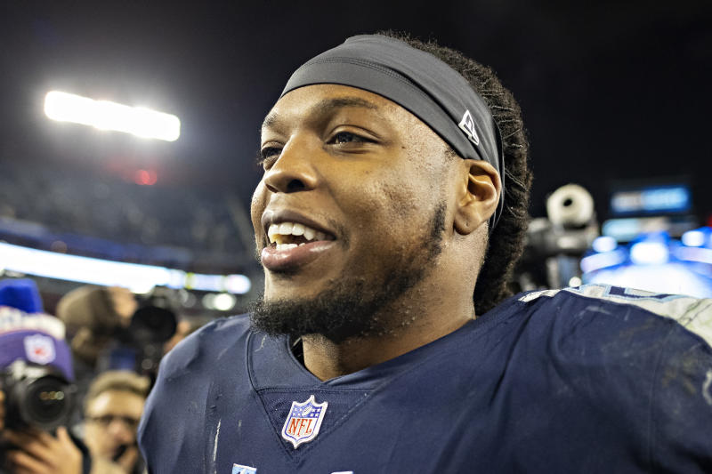 Derrick Henry got the rare long-term deal for a running back ahead of a potentially COVID-threatened NFL season. (Photo by Wesley Hitt/Getty Images)